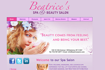 Beatrice's Spa and Beauty Salon Homepage
