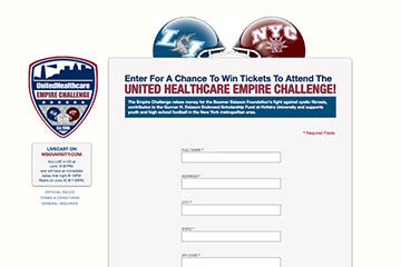 Homepage of United Healthcare Empire Challenge