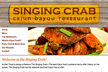 Homepage of The Singing Crab Cajun Bayou Restaurant Website