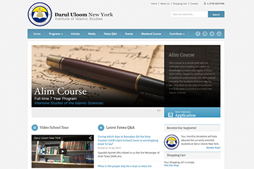 Homepage of Darul Uloom New York Website