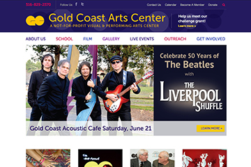 Homepage of Gold Coast Arts Center Website