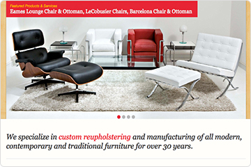 Homepage of Prestige Furniture website