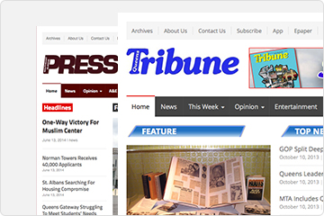 Homepage of Queens Tribune and Queens Press websites